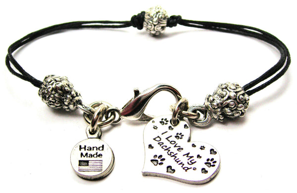 I Love My Dachshund Heart Beaded Black Cord Bracelet