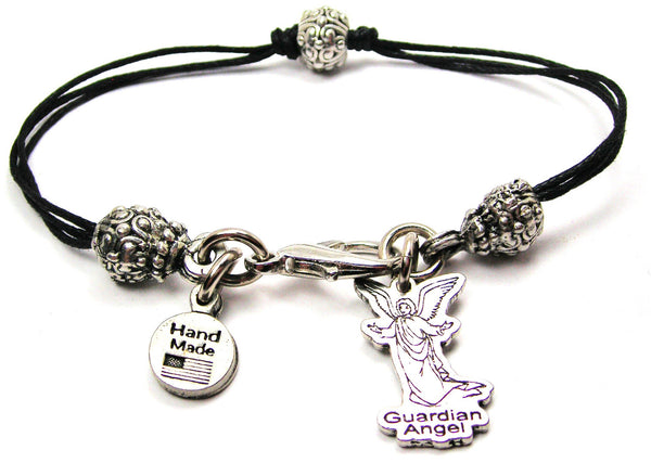 Guardian Angel Beaded Black Cord Bracelet