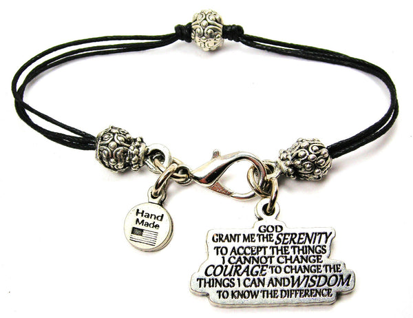 Serenity Prayer Beaded Black Cord Bracelet