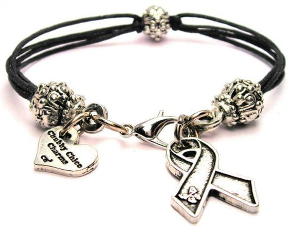 Awareness Ribbon With Butterfly Corner Beaded Black Cord Bracelet