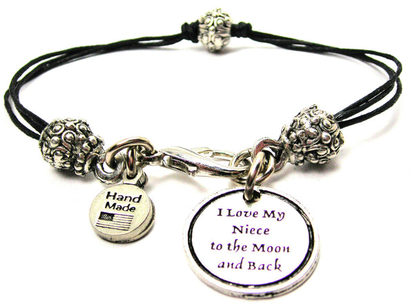 I Love My Niece To The Moon And Back Beaded Black Cord Bracelet