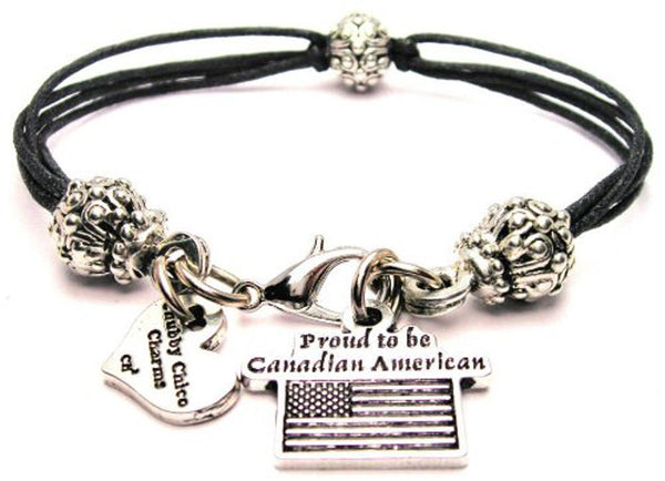 Proud To Be Canadian American Beaded Black Cord Bracelet