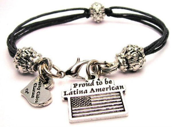 Proud To Be Latina American Beaded Black Cord Bracelet