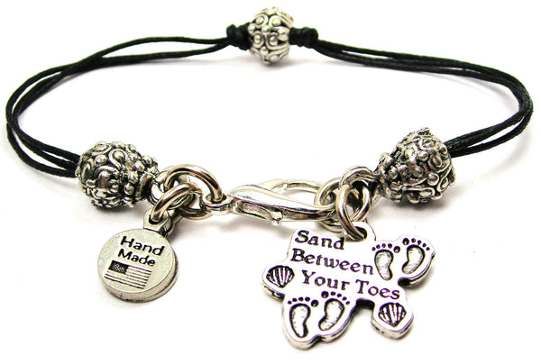 Sand Between Your Toes Beaded Black Cord Bracelet