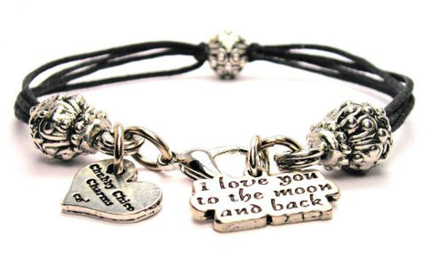 I Love You To The Moon And Back Beaded Black Cord Bracelet