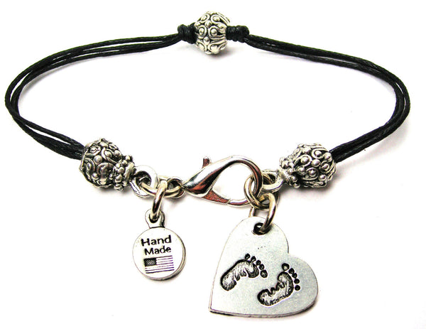 Baby Footprints On Your Heart Beaded Black Cord Bracelet