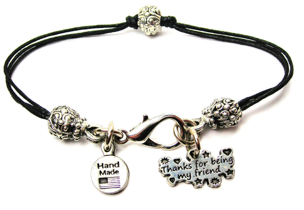 Thanks For Being My Friend Beaded Black Cord Bracelet