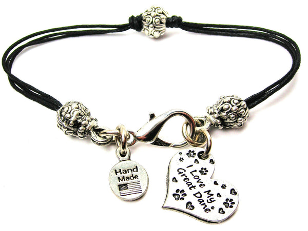 I Love My Great Dane Heart Beaded Black Cord Bracelet