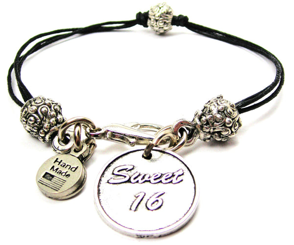 Sweet 16 Beaded Black Cord Bracelet
