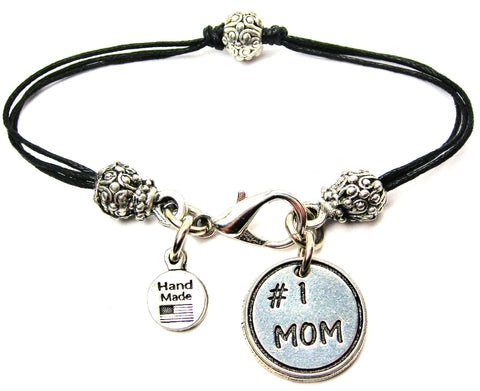 #1 Mom Beaded Black Cord Bracelet