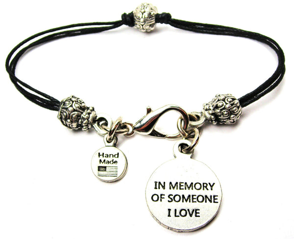 In Memory Of Someone I Love Beaded Black Cord Bracelet