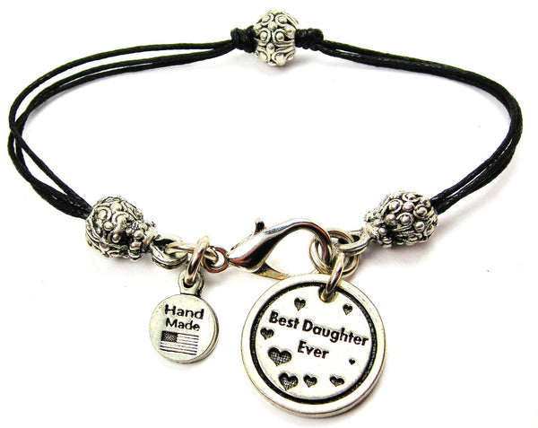 Best Daughter Ever Beaded Black Cord Bracelet