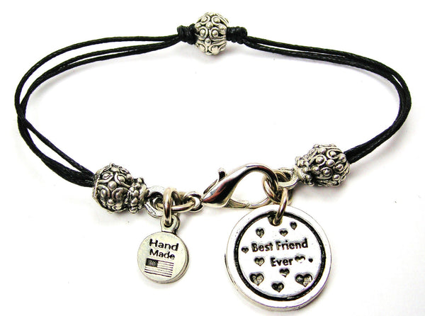 Best Friend Ever Beaded Black Cord Bracelet