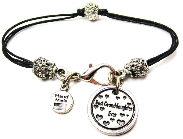 Best Granddaughter Ever Beaded Black Cord Bracelet