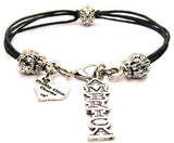 America Letters Going Down Beaded Black Cord Bracelet
