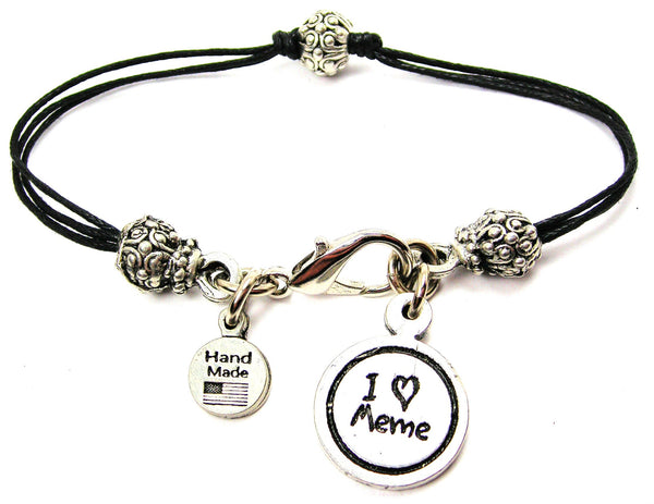 I Love Meme Child Handwriting Beaded Black Cord Bracelet