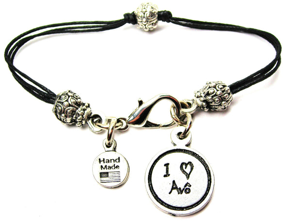 I Love Avo (Grandfather) Child Handwriting Beaded Black Cord Bracelet