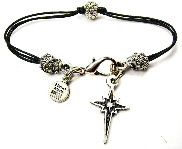 Christmas Star Of Bethlehem Beaded Black Cord Bracelet