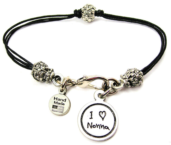 I Love Nonna Child Handwriting Beaded Black Cord Bracelet