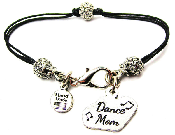Dance Mom With Music Notes Beaded Black Cord Bracelet