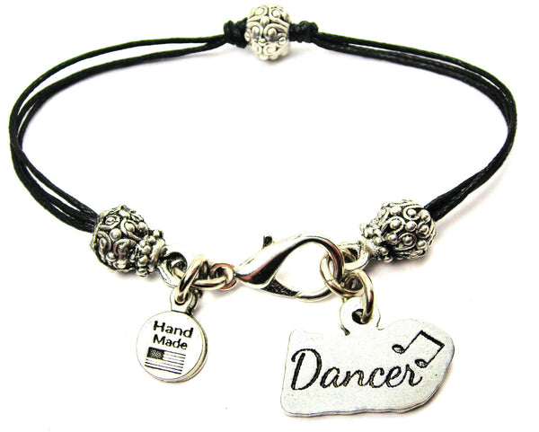 Dancer With Music Note Beaded Black Cord Bracelet