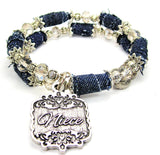 Niece Victorian Scroll Blue Jean Distressed Denim Bead Wrap Bracelet