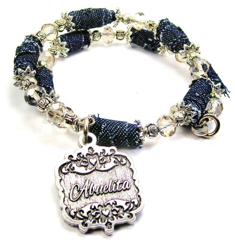 Abuelita Victorian Scroll Blue Jean Distressed Denim Bead Wrap Bracelet