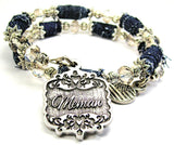Memaw Victorian Scroll Blue Jean Distressed Denim Bead Wrap Bracelet