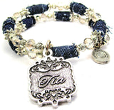 Tia Victorian Scroll Blue Jean Distressed Denim Bead Wrap Bracelet