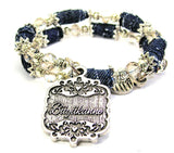 Buyukanne Victorian Scroll Blue Jean Distressed Denim Bead Wrap Bracelet