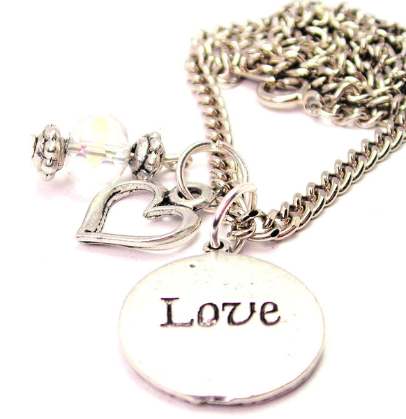Love Circle Necklace with Small Heart