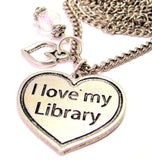 I Love My Library Necklace with Small Heart