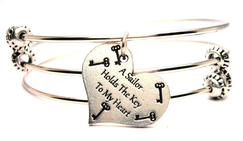 A Sailor Holds The Key To My Heart Triple Style Expandable Bangle Bracelet