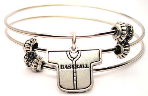 Baseball Jersey Triple Style Expandable Bangle Bracelet