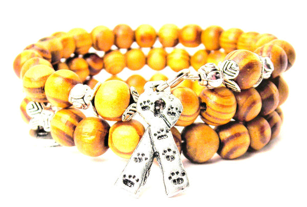 Awareness Ribbon With Paw Prints Natural Wood Wrap Bracelet