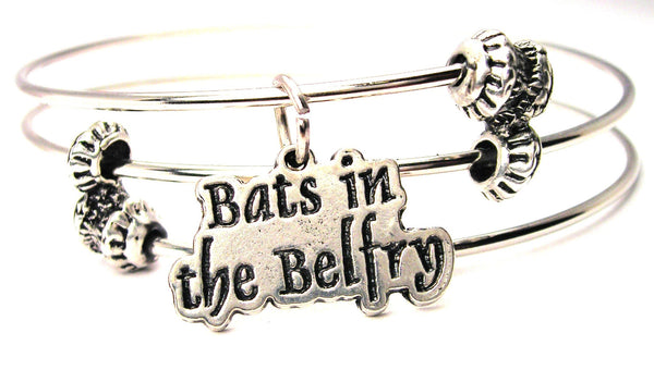 Bats In The Belfry Triple Style Expandable Bangle Bracelet