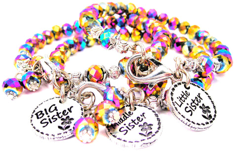 3 Piece Set Multi Crystal Little, Big, And Middle Sister Gift Set Splash Of Color Crystal Bracelets
