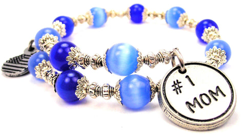 #1 Mom Cats Eyes Glass Beaded Wrap Bracelet