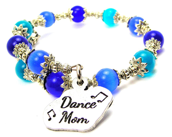 Dance Mom With Music Notes Cats Eyes Glass Beaded Wrap Bracelet