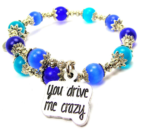 You Drive Me Crazy Cats Eyes Glass Beaded Wrap Bracelet