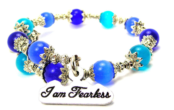 I Am Fearless Cats Eyes Glass Beaded Wrap Bracelet