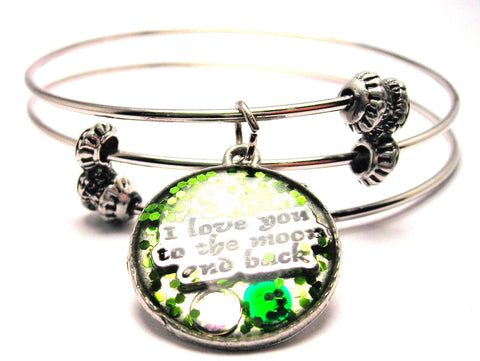 Glitter Resin I Love You To The Moon And Back Triple Style Expandable Bangle Bracelet