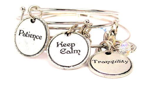 3 Piece Set Patience Keep Calm And Tranquility Bangle Bracelets