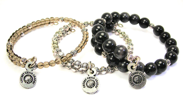 Second Amendment With Revolver 3 Piece Wrap Bracelet Set Cats Eye Glass And Pewter