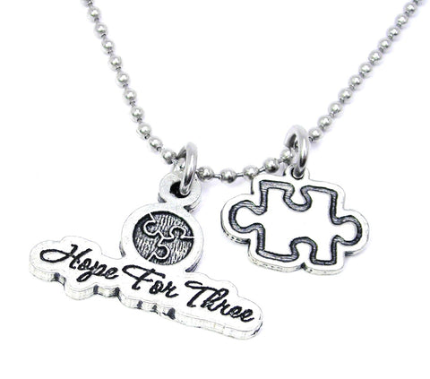 Hope for three puzzle piece ball chain Charm Necklace