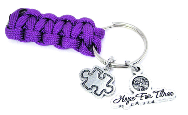 Hope for three puzzle piece 550 Military Spec Paracord Key Chain