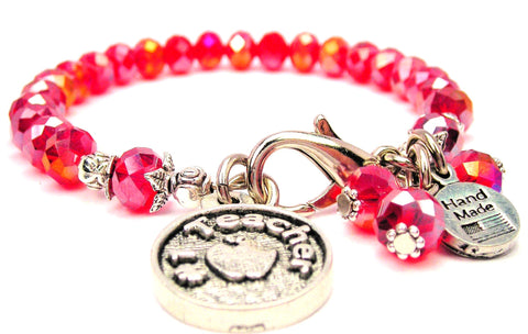 #1 Teacher With An Apple Splash Of Color Crystal Bracelet