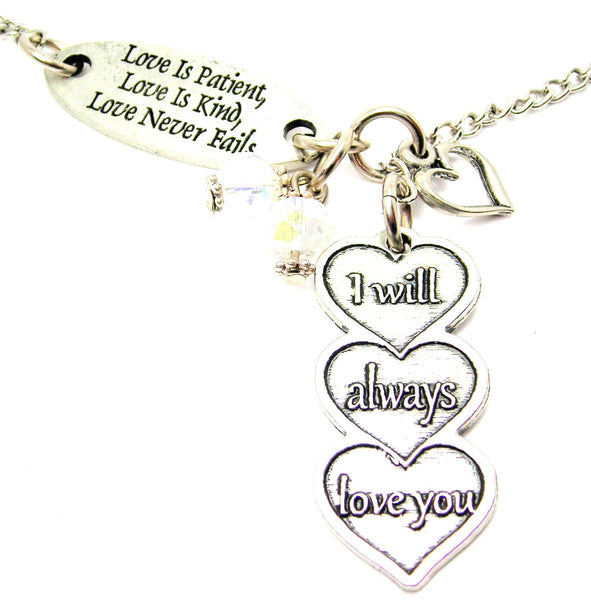 Love Is Patient Love Is Kind And I Will Always Love You Triple Hearts Lariat Necklace