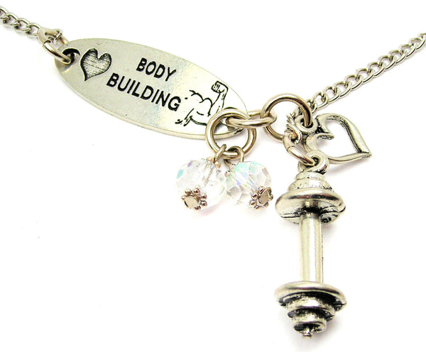 Love Body Building And Barbell Lariat Necklace