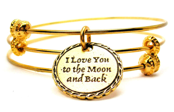 Gold Detailed Trim I Love You To The Moon And Back Triple Style Expandable Bangle Bracelet